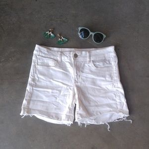 American Eagle Outfitters White Denim Midi Shorts